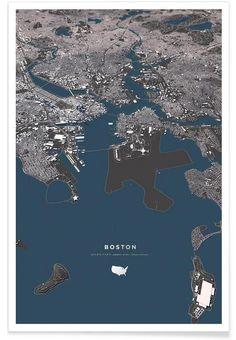 Boston Color City Map als Premium Poster Wall Art Prints, Poster Prints, Poster Online, Art Prints Online, Shops, Map Design, City Photo, Portrait, Boston
