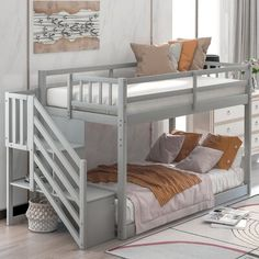 Low Bunk Beds, Bunk Bed Ladder, Bunk Bed With Trundle, Bunk Beds With Drawers, Bunk Beds With Stairs, Bed Frame With Storage, Bed Shelves, Room Ideas Bedroom, Girls Bedroom