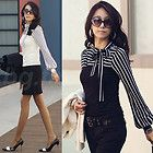 Sz S M L XL Korea Women's Polo Neck Puff Long Sleeve Stripe T-Shirt Tops Blouses
