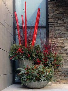 Winter, decor, outdoor, container, planter, front door, evergreen, bamboo poles, red, urban, garden, design, landscape