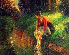 Young Woman Bathing Her Feet (also known as The Foot Bath) : Camille Pissarro : Impressionism : genre painting - Oil Painting Reproductions Paul Gauguin, Paul Signac, Claude Monet, Edgar Degas, George Seurat, Camille Pissarro Paintings, Paul Cézanne, Gustave Courbet, Art Ancien
