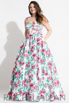 7802 - Simple floral matte satin ball gown with pockets