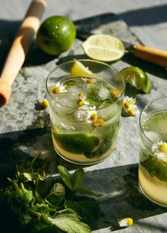 A take on the mojito with chamomile syrup - perfect to sip on a hot afternoon on your porch with a loved one