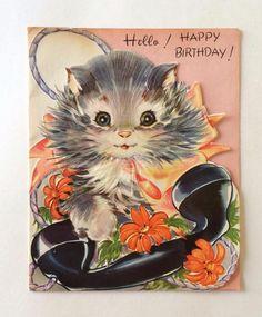 Vintage Kitty on Telephone Birthday Greeting Card Vintage Greeting Cards, Birthday Greeting Cards, Birthday Greetings, Cat Birthday, Friend Birthday, Happy Birthday, Vintage Cat, Vintage Images, Vintage Birthday