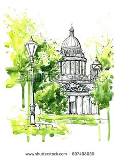 Hand drawn watercolor sketch with famous russian architecture Saint Isaac's cathedral in Saint Petersburg, Russia. Black ink outline and green watercolour stains, blots and drips on white background Architecture Drawing Sketchbooks, Watercolor Architecture, Watercolor Paintings Nature, Watercolor Sketchbook, Scratchboard Art, Landscape Sketch, Building Art, Watercolor Background, Sketch Fashion