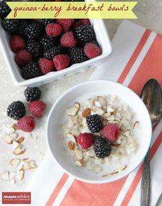Quinoa-Berry Breakfast Bowls from MomAdvice.com. #glutenfree #dairyfree