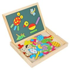 WDB - 01 Wooden Double Face Drawing Board with Magnetic Puzzle 70Pcs Toy Kid Gift $11.73