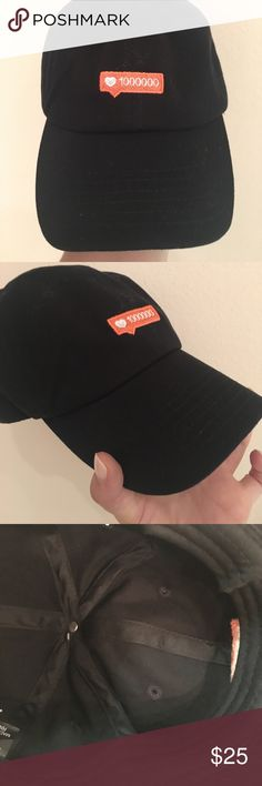 """NWOT • """"all the likes"""" black hat Purchased at local barre studio! Pure Barre Accessories Hats"""