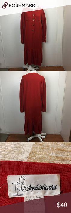 Red Italian Wool DROP WAIST Pleated Sweater Dress Vtg LFO Sophisticates L Red Italian Wool DROP WAIST Pleated Sweater Dress  Excellent vintage condition Vintage Dresses Maxi