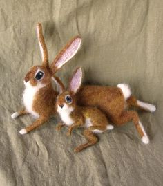 Mother and Baby Rabbit needle felted animals by by Ainigmati