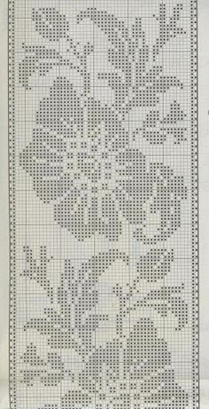 Kira scheme crochet: Scheme crochet no. Filet Crochet Charts, Crochet Borders, Cross Stitch Borders, Crochet Motif, Cross Stitch Designs, Crochet Flowers, Cross Stitch Patterns, Doily Patterns, Knitting Patterns