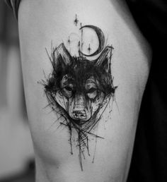 Blackwork tattoos are growing in popularity and we're loving every minute of it! Here are some our top picks for black Wolf Tattoos, Animal Tattoos, Black Tattoos, Body Art Tattoos, New Tattoos, Hand Tattoos, Tattoos For Guys, Tatoos, Piercings