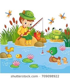 The boy sits on a rock and catches fish in a pond. Vector illustration of a cartoon childlike style wit yoh a lake and ducks. Art Drawings For Kids, Drawing For Kids, Painting For Kids, Cartoon Drawings, Animal Drawings, Easy Drawings, Art For Kids, English Creative Writing, Picture Composition