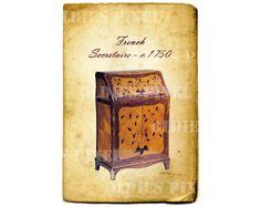 Vintage Furniture c.1750 French Secretaire Digital by OldiesPixel, $3.25