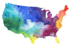 Map Of United States With Watercolor Texture Raster Illustration stock vector art 538151722