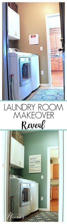 So excited to share my laundry room makeover reveal! Come see how new flooring, lighting, a new color scheme and a few key organizing/storage accessories totally transformed this space! Laundry Room Inspiration, Home Decor Inspiration, Decor Ideas, Laundry Room Design, Laundry Rooms, Laundry Area, Home Selling Tips, Diy Décoration, Bathroom Renovations