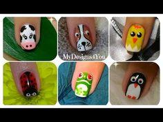 Animal Nail Art by from Nail Art Gallery Panda Nail Art, Penguin Nail Art, Dog Nail Art, Leopard Nail Art, Animal Nail Art, Tiger Stripe Nails, Zebra Print Nails, Nail Art Stripes, Animal Nail Designs