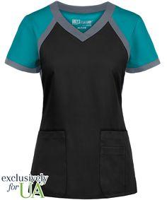 Grey's Anatomy Scrubs Active Modern Fit 3 Pocket Color Block Top Style # - Color: Black w/ Marina Blue and Granite Scrub Suit Design, Stylish Scrubs, Cute Scrubs, Scrubs Outfit, Greys Anatomy Scrubs, Womens Scrubs, Nursing Clothes, Medical Scrubs, Athletic Fashion