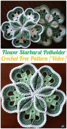 Crochet Flowers Ideas Crochet Flower Starburst Hot Pad Free Patterns - Crochet Pot Holder Hotpad Free Patterns - Crochet Pot Holder Hotpad Free Patterns: A collection of crochet potholders and hotpads free patterns, square, circle, flower and animal. Crochet Potholders, Crochet Motifs, Crochet Squares, Crochet Stitches, Knit Crochet, Filet Pattern Crochet, Knitted Dishcloths, Stitch Crochet, Crochet Puff Flower