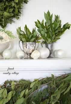 FRENCH COUNTRY COTTAGE: French Country Cottage Christmas ~ Home Tour, I love the bay leaves tucked in the silver sugars and creams