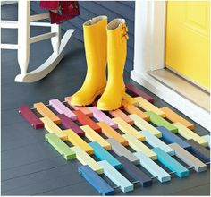 Build your own colorful wood floor mat.