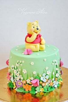 12 | by Sweet sugar beats Winnie The Pooh Cake, Winnie The Pooh Birthday, Puppy Birthday Cakes, First Birthday Cakes, Cake Designs For Girl, Friends Cake, Spring Cake, Disney Cakes, Bear Cakes