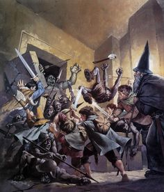 Lord of The Rings by the Master Angus McBride - The Battle in Moria Fantasy Rpg, Fantasy Books, Fantasy Artwork, Hobbit Art, O Hobbit, Jrr Tolkien, Gandalf, Legolas, Lotr
