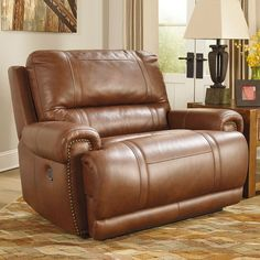 Signature Design by Ashley Paron Zero Wall Wide Seat Recliner Upholstery: Brown, Type: Power Manly Living Room, Living Room Chairs, Big Chair, Chair And A Half, Chair, Living Room Collections, Recliner Chair, Furniture, Wide Seat Recliner