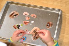 """""""Making Faces"""" Magnets- cut eyes, ears, noses, mouths, glasses, hair, moustaches, etc. from magazines and adhere to magnets - Repinned by Lessonpix.com"""