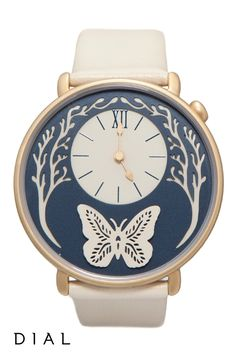 Get the beautiful look of the Butterfly Watch by Dial Watches today. Enjoy the versatility and whimsical appearance with either a navy blue or cream coloured band.