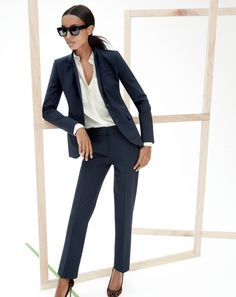 J.Crew stretch wool jacket, stovepipe trouser and the silk pocket blouse.