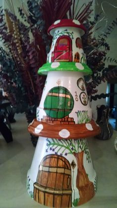 Fairy Housing One set of 3 housing units includes a small inches), medium inches) and tall Clay Pot Projects, Clay Pot Crafts, Shell Crafts, Diy Crafts, Flower Pot Art, Clay Flower Pots, Flower Pot Crafts, Flower Pot People, Clay Pot People