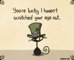 You're Lucky ~ cat in green St. Patrick's Day top hat | Brainless Tales (2015-03-17)