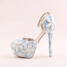 (59.00$)  Buy here  - Original winter shoes woman pumps Cinderella's glass slippers leather retro Bridal blue crystal 14 cm high heeled wedding shoes