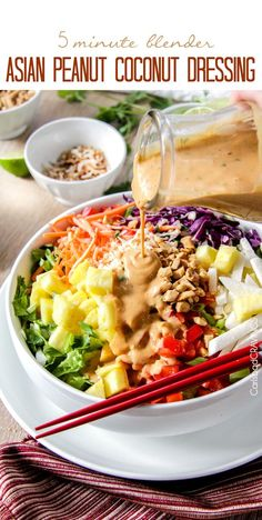 5 Minute Blender Asian Peanut Coconut Dressing is so ridiculously delicious you will want to put it on everything! #dressing #salad #peanut #Asian