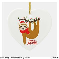 Shop Cute Merry Christmas Sloth Ceramic Ornament created by Personalize it with photos & text or purchase as is! Holiday Cards, Christmas Cards, Merry Christmas, Christmas Ornaments, Christmas Sloth, Christmas Design, White Elephant Gifts, Invitation Cards, Art For Kids