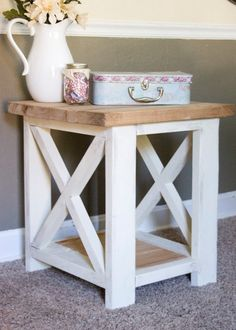 Custom Farmhouse End Table - Rustic Side Table - Living Room Table - Bedroom Table - Master suite 2019 - Rustic Furniture, Living Room Furniture, Diy Furniture, Living Room Decor, Furniture Cleaning, Antique Furniture, Modern Furniture, Furniture Buyers, Furniture Market
