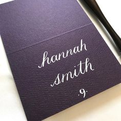 deep plum and white calligraphy place card Got Married, Getting Married, Hannah Smith, Wedding Name Cards, Fall Wedding, Plum, Place Cards, Calligraphy, Deep