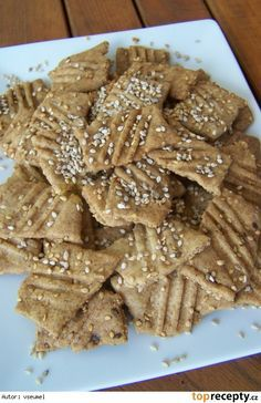 Slané sezamové sušenky Low Carb Recipes, Cooking Recipes, Healthy Recipes, Almond, Smoothies, Recipies, Health Fitness, Bread, Candy