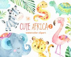 This part 2 of Cute African animals watercolor set is just what you needed for the perfect invitations, craft projects, paper products, party decorations, printable, greetings cards, posters, stationery, scrapbooking, stickers, t-shirts, baby clothes, web designs and much more.  :::::: DETAILS ::::::  This collection includes: - 21 Images in separate PNG files, transparent background, size approx.: 12-3in (3600-900px)  300 dpi RGB  Part 1 of Cute Africa https://www.etsy.com/lis...
