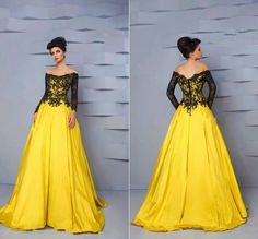 Find More Prom Dresses Information about Vestidos De Feata A line Prom Dress Full Sleeves Black Lace Bodice Yellow Skirt Gothic Boat Neckline Formal Prom Gowns E16819,High Quality gown,China gown clothes Suppliers, Cheap gown women from Leaderbridals on Aliexpress.com