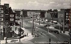 1957. View on the Surinameplein with Overtoomsesluis in Amsterdam. The Surinameplein in Amsterdam-West connects the Hoofdweg with the Cornelis Lelylaan and is via the Surinamestraat connected with the Overtoom and Amstelveenseweg. The square, which was named after the former Dutch colony Suriname, was built in the 1920's. #amsterdam #1957 #Surinameplein