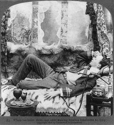 Bachelor dens cast over waking hours a loneliness so deep,Opium,c1904,Pipe