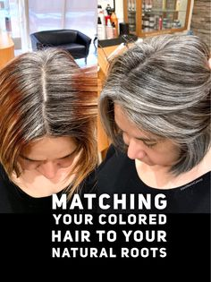 Matching your colored hair to your natural gray roots.-Matching your colored hair to your natural gray roots. Check the link below for … Matching your colored hair to your natural gray roots. Check the link below for formula. Long Gray Hair, Silver Grey Hair, Grey Hair Dye, Gray Hair Growing Out, Grow Hair, Strapless Dress Hairstyles, Gray Hair Highlights, Curly Hair Styles, Natural Hair Styles