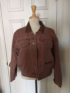 VTG Rare Boy London Faded Burgundy Fleece Aztec Lining Denim Jacket Size M #BoyLondon #JeanJacket