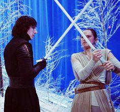 Adam Driver(Kylo Ren) & Daisy Ridley(Rey) on Starkiller Base Set at Pinewood Studios for Star Wars:The Force Awakens(2015)