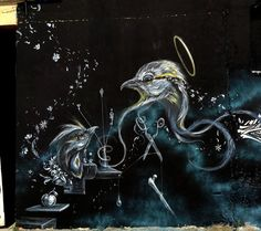 Kraser Tres recently stopped by Northern Italy to work on this piece located somewhere on the streets of Bassano Del Grappa. Kraser understands the importance of shape and representation rather than the use of language and as usual with the Spanish painter he delivers one his beautiful whimsical tales.