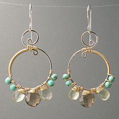 Mixed Gemstone Hoops Smoky Quartz Prehnite by leobenjewelry