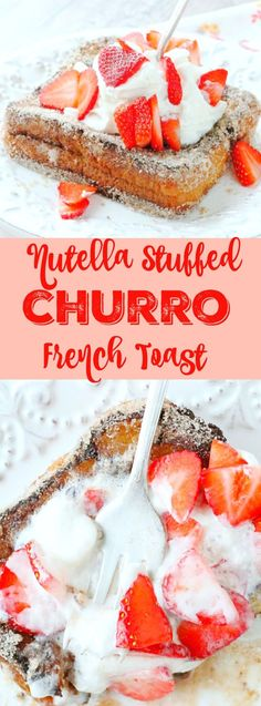 This Nutella Stuffed Churro French Toast is a totally over the top breakfast that you need to try - chocolatey Nutella is stuffed between brioche bread, made into french toast and coated with a cinnamon sugar Churro topping. Nutritious Breakfast, Breakfast Recipes, Dessert Recipes, Breakfast Dishes, Brunch Recipes, Breakfast Ideas, Just Desserts, Delicious Desserts, Yummy Food