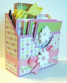 Desk Organizer gift set w/ Nuggets box, pen, altered notepad and 4 cards w/envelopes.  #2 by ZubRustnBun - Cards and Paper Crafts at Splitcoaststampers